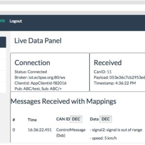 Intelery Can Bus Analyzer Live Data